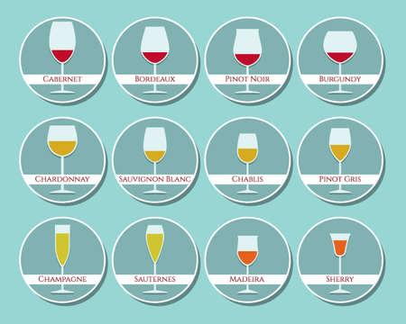 Vidrios de vino conjunto de iconos hecha en el vector en estilo plano. El ejemplo simple de apareamiento del vino con la copa de vino derecha. para la opción perfecta para cualquier negocio relacionado con la producción y el consumo de vino. Ilustración de vector
