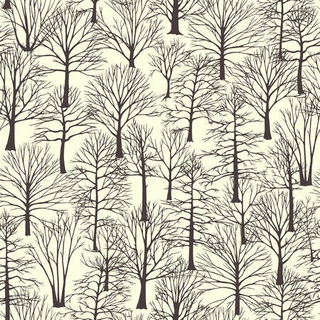 winter trees: Vector seamless pattern with hand drawn winter trees. Beautiful design elements, perfect for prints and patterns. Illustration