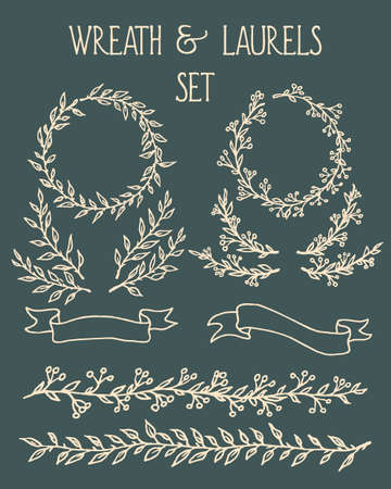 Hand drawn wreath, borders and laurels graphic set made in vector. Beautiful floral design elements. Ilustracja