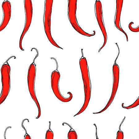 peppers: Seamless pattern with hand drawn chili peppers. Beautiful design elements, perfect for prints and patterns.