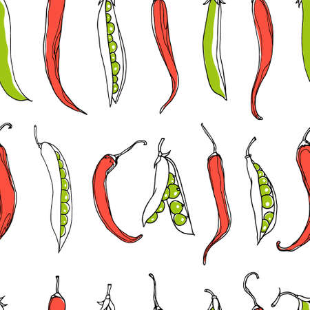 green pea: seamless pattern with green pea pods and chili peppers. design elements, perfect for prints and patterns.