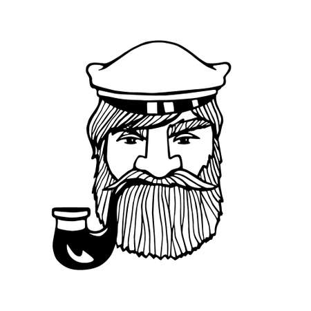 manly: Hand drawn head of seaman with smoking pipe and peaked cap. Vector illustration of manly fisherman. Heavy contour, graphic style.