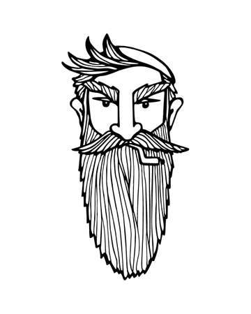 manful: Hand drawn head of bearded man with knitted cap on and cigarette. Vector illustration of manly north fisherman or lumberjack. Heavy contour, graphic style.