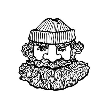 manly: Hand drawn head of bearded man with knitted cap on. Vector illustration of manly north fisherman or lumberjack. Heavy contour, graphic style.