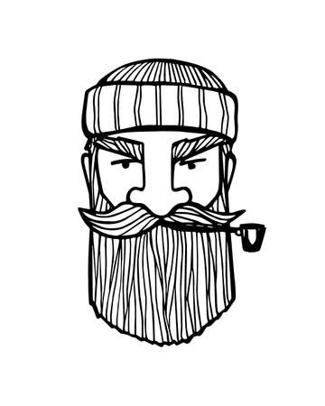 Hand drawn head of bearded man with knitted cap on and smoking pipe. Vector illustration of manly north fisherman or lumberjack. Heavy contour, graphic style.