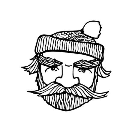 manful: Hand drawn head of bearded man with knitted cap on. Vector illustration of manly north fisherman or lumberjack. Heavy contour, graphic style.