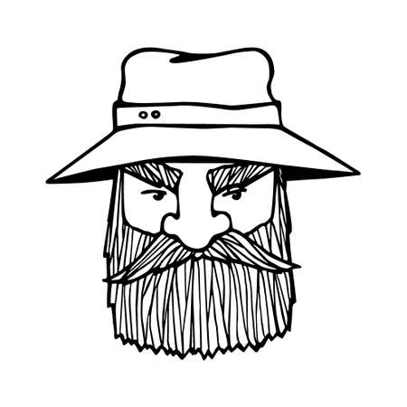 manly: Hand drawn head of bearded man with cap on. Vector illustration of manly north fisherman or lumberjack. Heavy contour, graphic style.