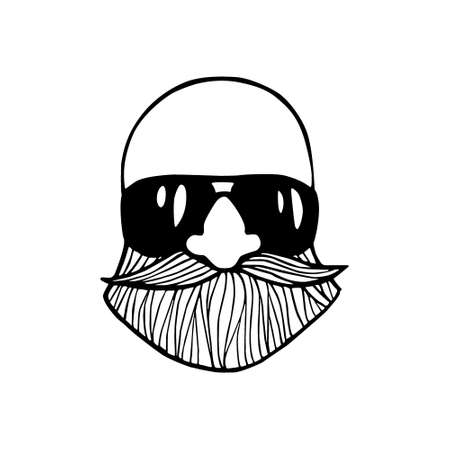 manful: Hand drawn head of bold bearded man with sunglasses. Heavy contour, graphic style. Illustration