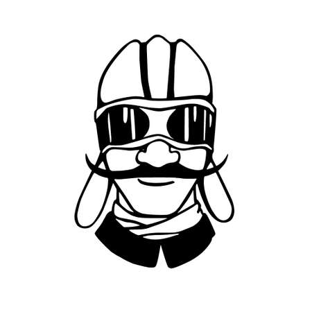 chauffeur: Vector illustration of retro male character. A head of chauffeur or pilot with mustache, eyepieces and helmet. Ink drawing, graphic style.