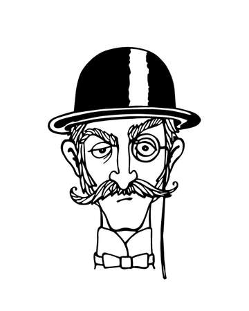 bowler hat: Vector illustration of retro male character. A head of elegant gentleman with mustache, monocle and bowler hat. Ink drawing, graphic style.