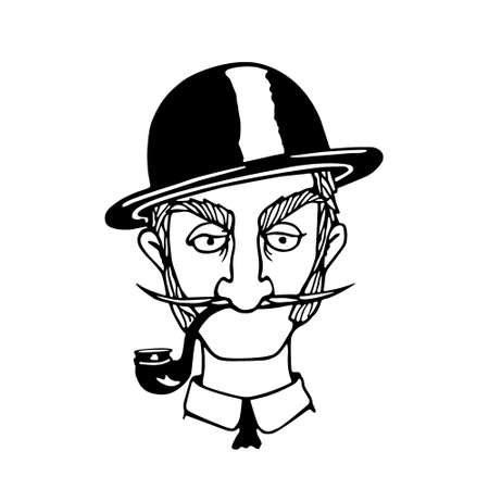 Vector illustration of retro male character. A head of skeptical gentleman with mustache, smoking pipe and bowler hat. Ink drawing, graphic style.