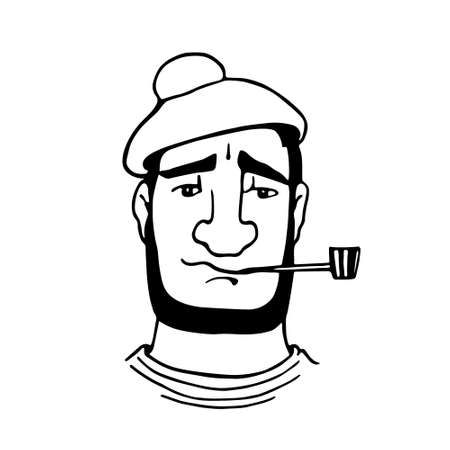 smoking pipe: Vector illustration of retro male character. A head of a seaman with smoking pipe and beret. Ink drawing, graphic style.
