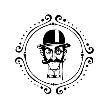 bowler hat: Vector illustration of retro male character. A head of elegant gentleman with mustache, monocle and bowler hat in vintage round frame. Ink drawing, graphic style. Illustration