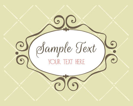 oval frame: Vector card template with cute hand drawn elements. Hand drawn vintage oval frame on patterned background. Beautiful design elements, perfect for greeting or invitation cards.