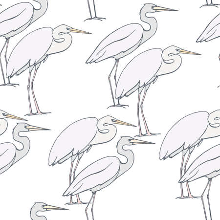 blue heron: Vector seamless pattern with hand drawn herons. Beautiful design elements, perfect for prints and patterns.