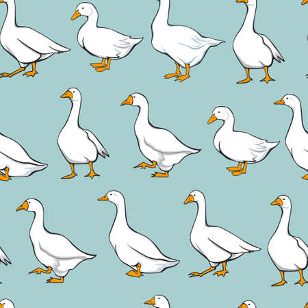 geese: Vector seamless pattern with graceful domestic geese. Beautiful design elements, perfect for prints and patterns.