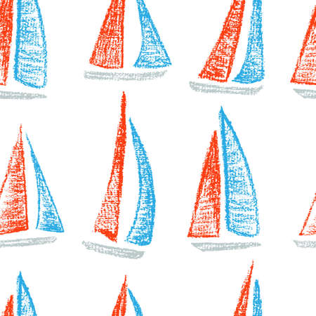 sailing ships: Vector seamless pattern with hand drawn sailing ships. Hand drawn with chalk sailing boats. Beautiful design elements, perfect for nursery.