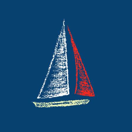 Vector illustratie van zeilschip. Hand getekend met krijt zeilboot op diepe mariene achtergrond. Mooie nautische design element.