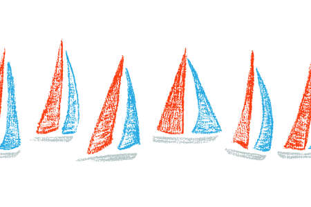 sailing boats: Vector seamless pattern with hand drawn sailing ships. Hand drawn with chalk sailing boats. Beautiful design elements, perfect for nursery.