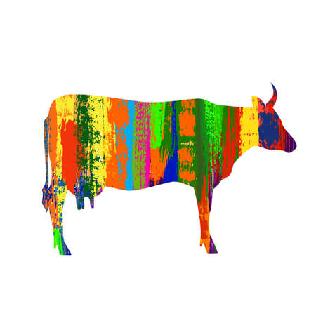 cow silhouette: Vector cow silhouette painted with multicolored brush strokes