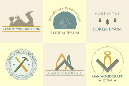 carpenter pincer: Vector collection of woodworking and carpentry badges. Beautiful vector graphics for any other business related to the woodworking . Icons, badges and labels design.