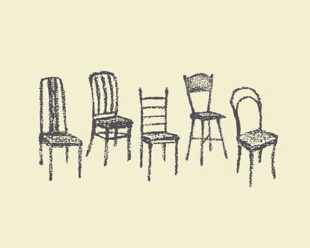 lecture hall: Vector illustration of chairs hand drawn with chalk. Beautiful interior design elements.