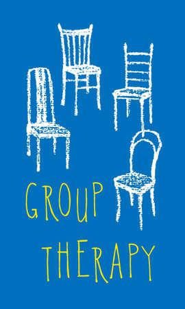 terapia de grupo: ilustraci�n vectorial de sillas dibujado a mano con tiza. cartel de la terapia de grupo sencillo