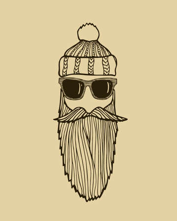 manful: Hand drawn head of bearded man with knitted cap and sunglasses. Heavy contour, graphic style.