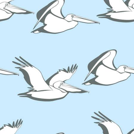 Wektorowy bezszwowy wzór z pełen wdzięku latającymi pelikanami. Piękne elementy graficzne, idealne do wydruków i wzorów.