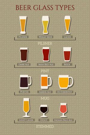 vasos de cerveza: guía visual de los tipos de cristal de cerveza agrupados. colección de vasos de cerveza hechas en estilo plano de fondo de los lunares. Vectores