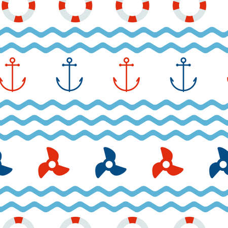 propellers: seamless pattern with anchors, lifebuoys and propellers made in simple flat style. Beautiful nautical design.