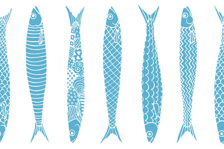 Vector horizontal seamless pattern with hand drawn sardines. Advertising, menu or packaging cool design elements.