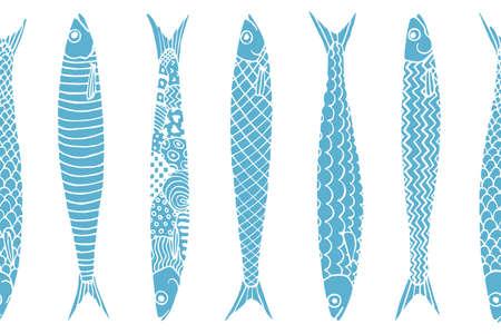 Vector il modello senza cuciture orizzontale con le sardine disegnate a mano. Pubblicità, menu o packaging elementi di design accattivanti.