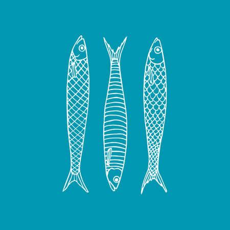Vector illustration of hand drawn sardines. Advertising, menu or packaging cool design elements.