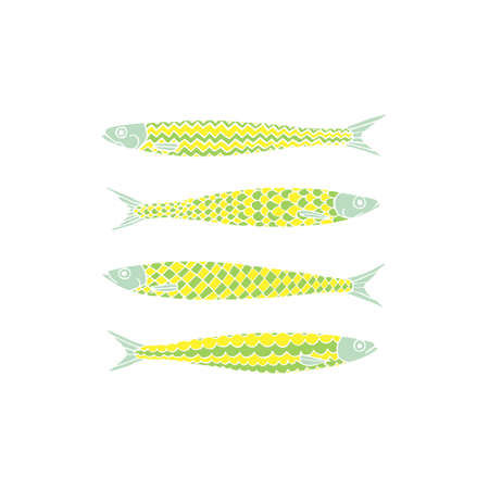 sardines: Vector illustration of hand drawn sardines. Advertising, menu or packaging cool design elements.