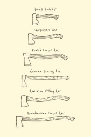 axes: collection of hand drawn axes Illustration