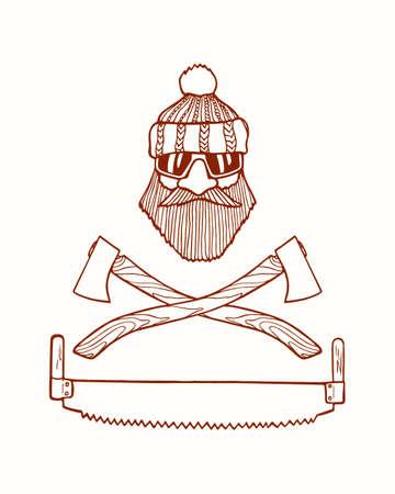 manful: emblem with hand drawn head of lumberjack