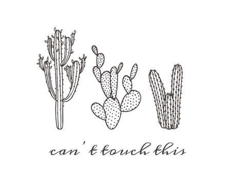 illustratie van de hand getrokken cactus. Mooie bloemen tekening. Stock Illustratie
