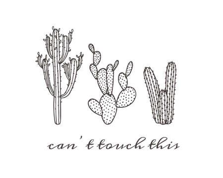 Illustration von Hand gezeichnet Kaktus. Schöne florale Zeichnung. Standard-Bild - 58716834