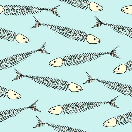 sardine: seamless pattern with hand drawn sardine skeletons. Advertising, menu or packaging cool design elements.