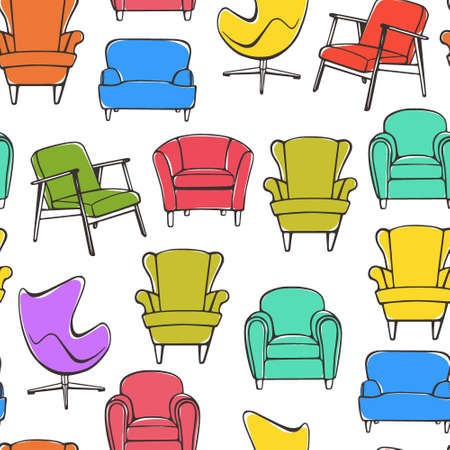 home accent: Vector seamless pattern with hand drawn accent chairs. Beautiful design elements, perfect for prints and pattern. Illustration