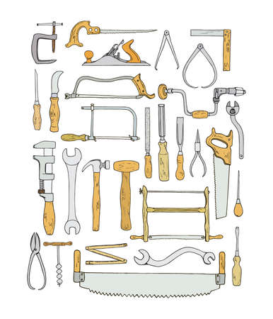 Vector collection of hand drawn common hand tools used by carpenters. Beautiful design elements, perfect for any industry related to the woodworking.
