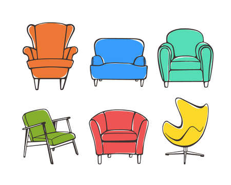 accent: Vector graphic set of hand drawn accent chairs. Accent chair design styles. Vintage colors, ink drawing. Beautiful design elements, perfect for any business related to the furniture industry.