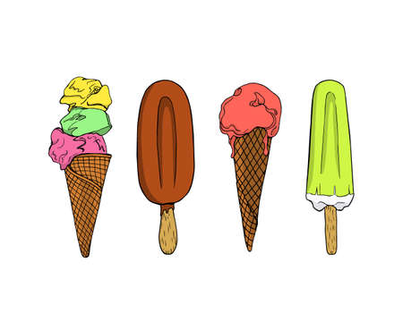 pastry shop: Vector graphic set of hand drawn ice cream. Beautiful design elements for pastry shop, ice cream parlors, cafes or any other business related to the catering.