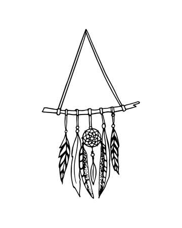 sacred symbol: Vector illustration of hand drawn triangle dreamcatcher. Ancient native americans sacred symbol. Beautiful ethnic design elements.