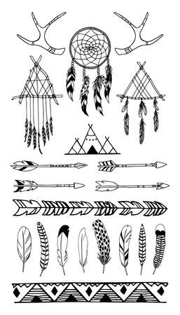 wigwam: Vector illustration of hand drawn tribal elements. Beautiful ethnic design elements, perfect for prints and patterns
