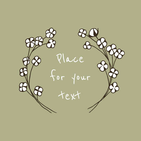 Vector illustration of hand drawn cotton wreath. Beautiful floral design.