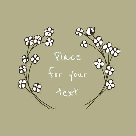 Vector illustratie van handgetekende katoenkrans. Mooi bloemenontwerp.