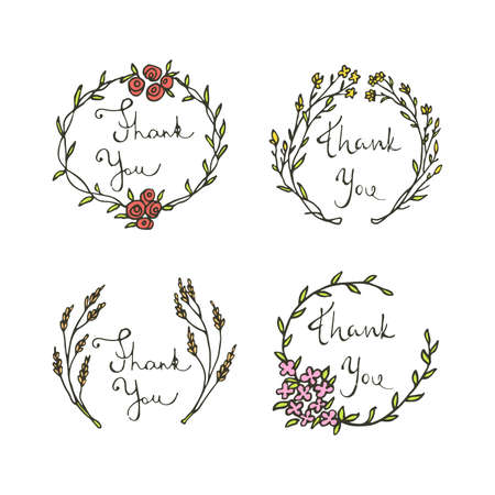 Vector floral emblem set with hand written thank you inscription. Hand drawn graphics made in vector. Beautiful design elements.
