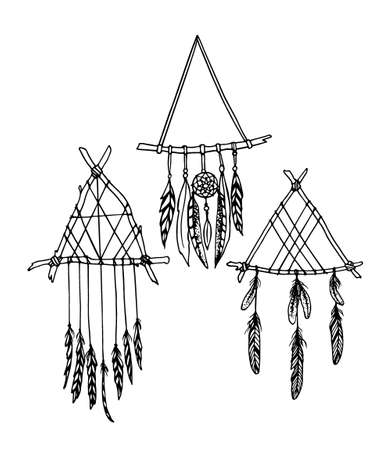 Vector illustration of hand drawn triangle dreamcatchers. Ancient native americans sacred symbol. Beautiful ethnic design elements. Illustration